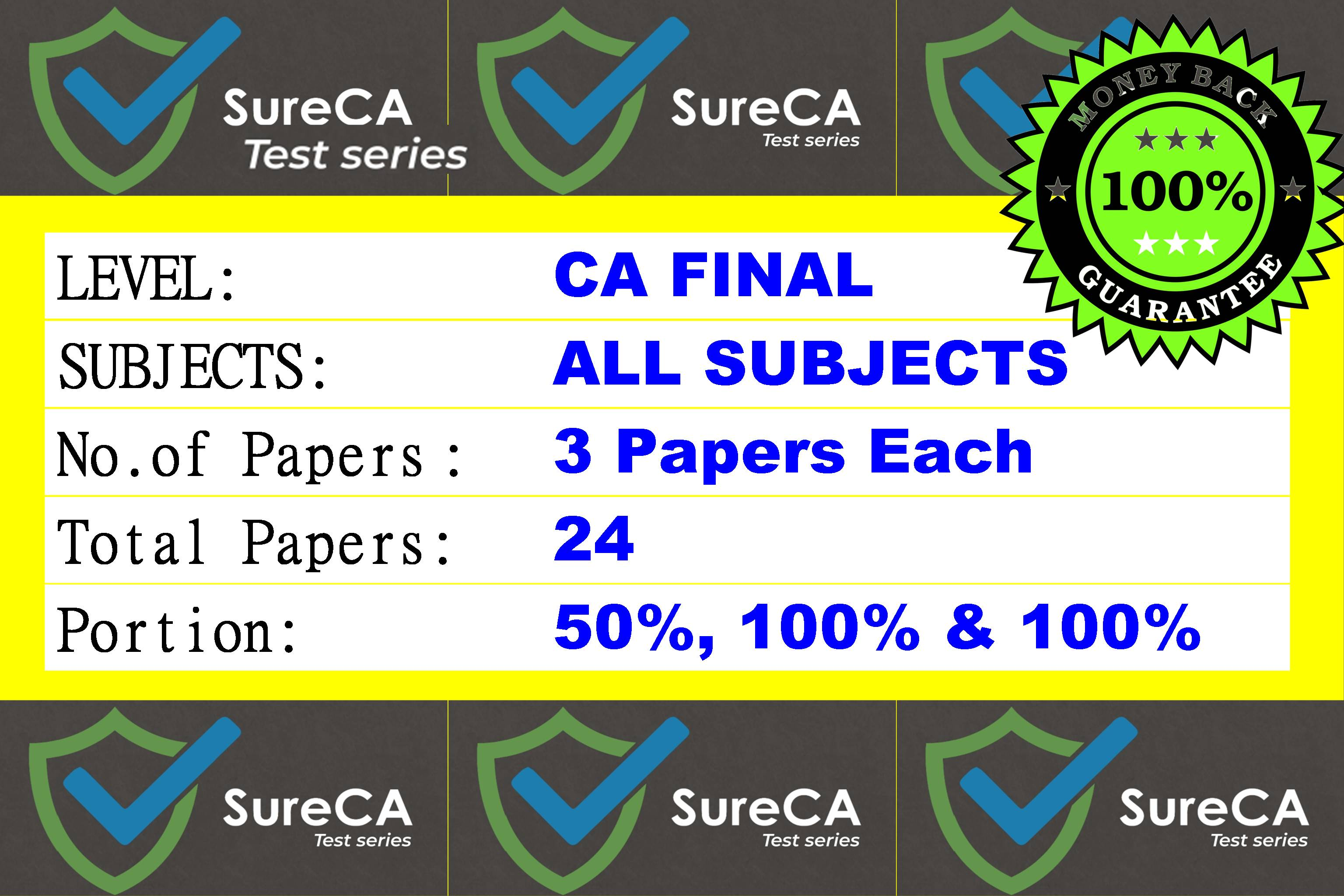 #1 –  SURE CA – CAFINAL – Test Series – 8 subjects – 24 Papers