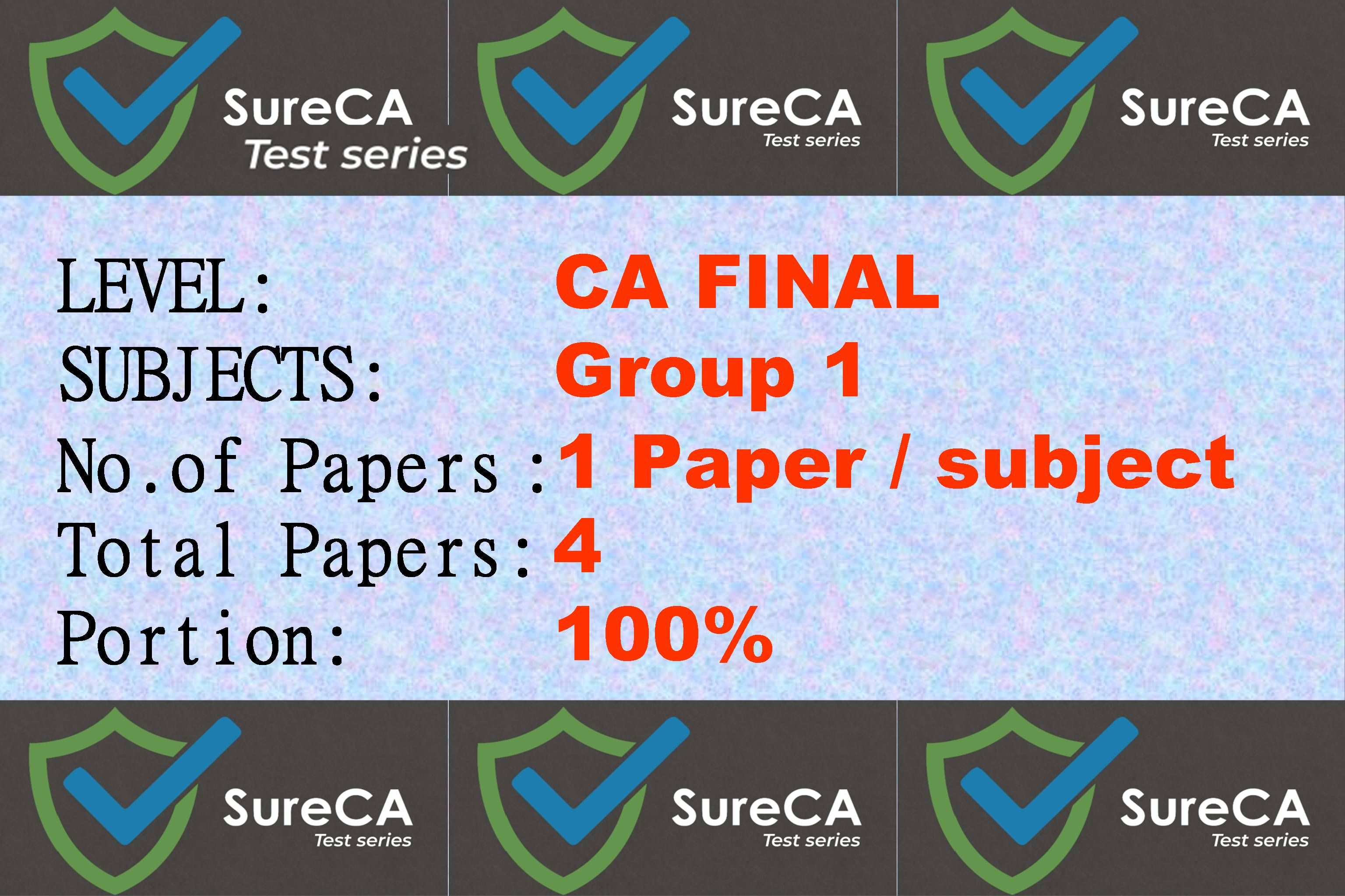 #5 –  SURE CA – CAFINAL – Test Series – Group 1 – 4 Papers