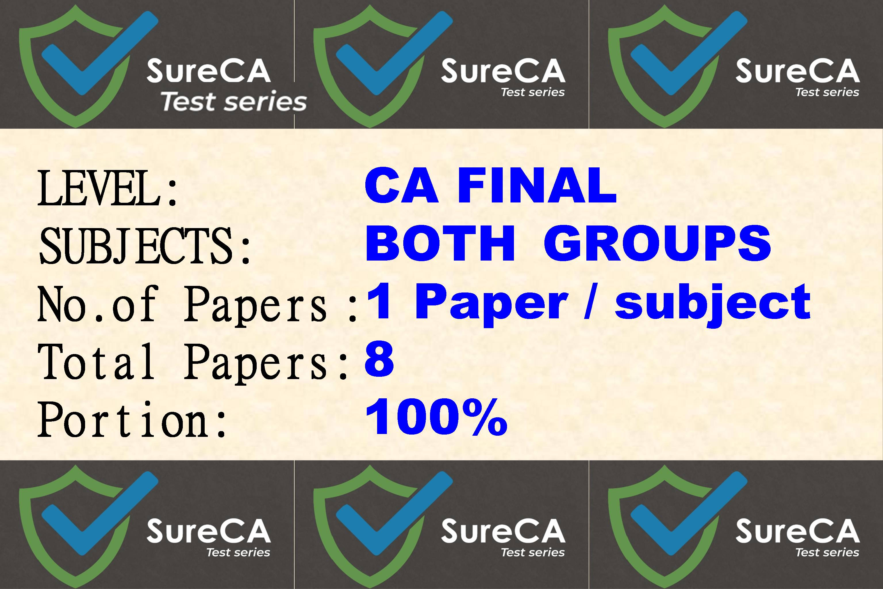 #4 –  SURE CA – CAFINAL – Test Series – 8 subjects – 8 Papers