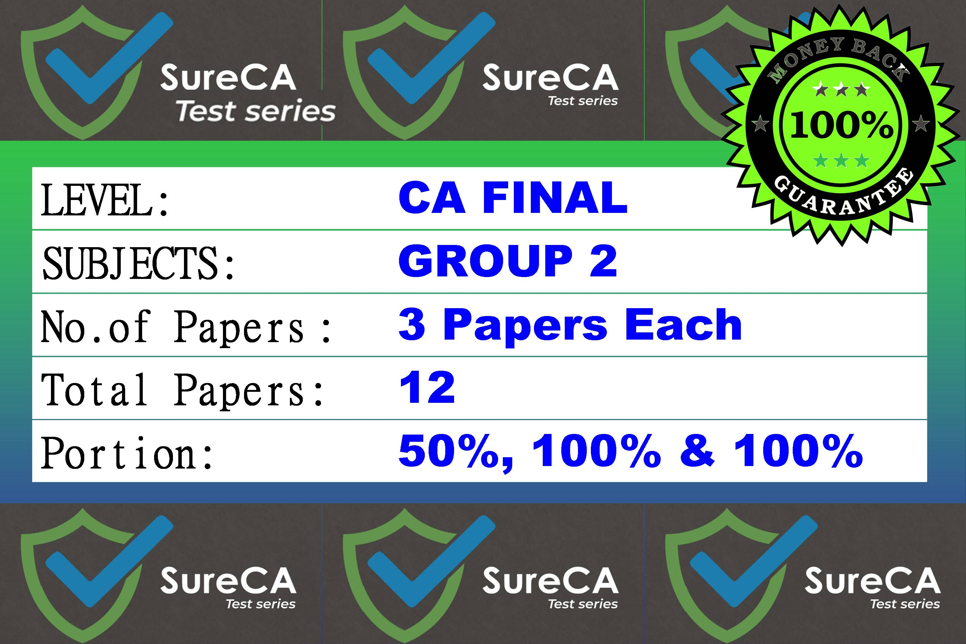 #3 –  SURE CA – CAFINAL – Test Series – Group 2 – 12 Papers