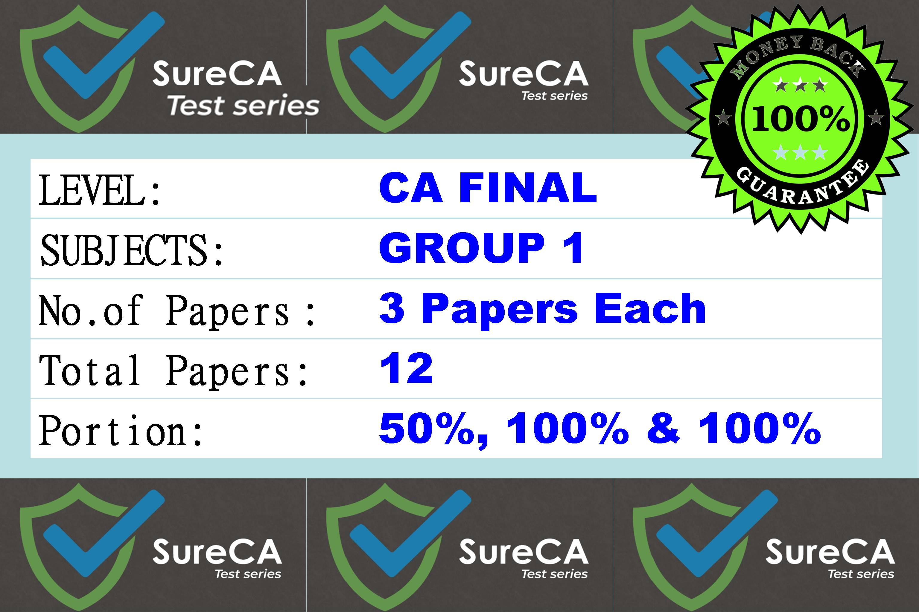 #2 –  SURE CA – CAFINAL – Test Series – Group 1 – 12 Papers